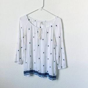 Embroidered Peasant Top/Blouse